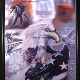 Title: The New American Pride : Size 24x36 Signed Print: With Frame.  These are incredible Hand Painted Prints, Signed and numbered by Artist Todd Krasovetz.  Click image  to read News Publication About the Original Commissioned Artwork.