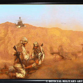 """""""CASEVAC """" original painting by Artist Todd Krasovetz now hangs at Cannon Air Force Base in New Mexico."""