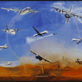 """""""Elite Engagement """" original painting by Artist Todd Krasovetz now hangs at Cannon Air Force Base in New Mexico."""