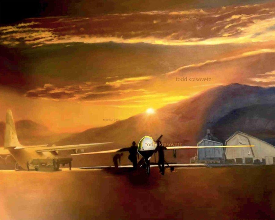 Military Art MQ 9 Reaper USAF Original Oil Painting Watermarked