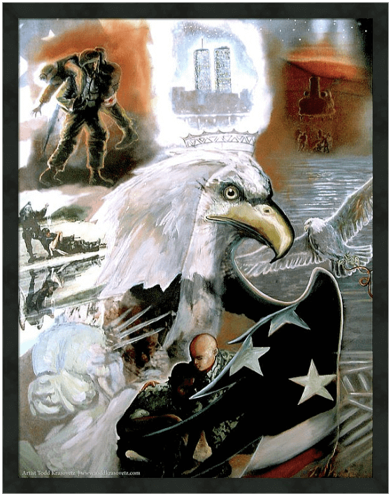 911 art Military Art Air Force Artwork Titled New American Pride Print Framed by Todd Krasovetz