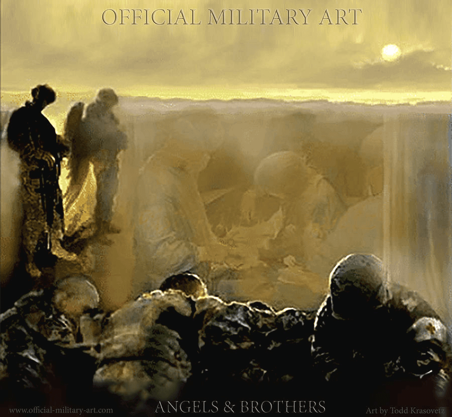 Military Art with Angels and Brothers Oil on Canvas Military Surgical Unit and Angels by Todd Krasovetz