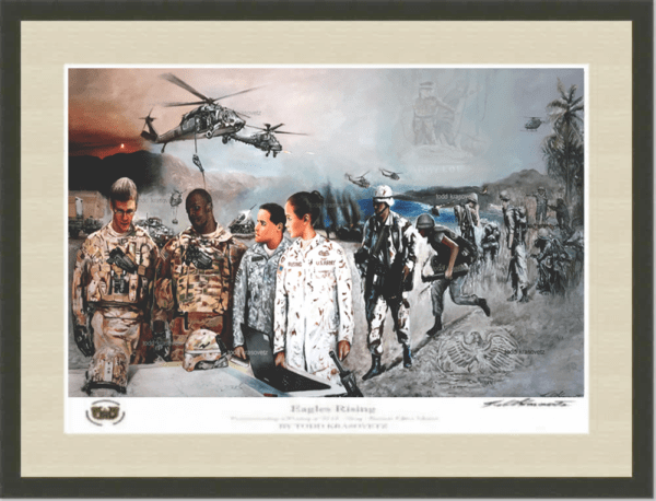 USAOWA Eagles Rising Black Frame and Beige and white double matted limited edition print for sale