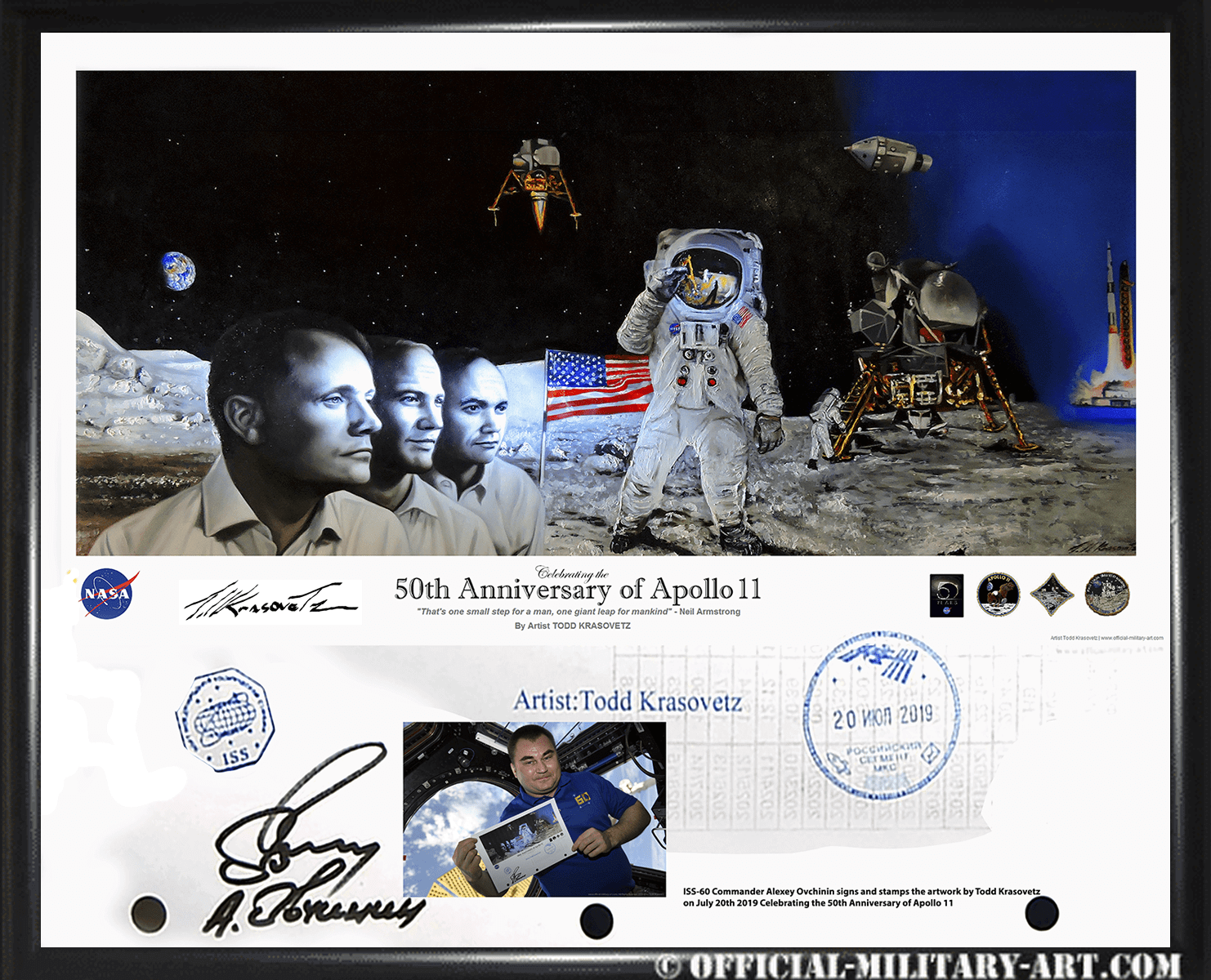 Apollo 11 art print framed double signature of ISS Expedition Commander Alexey Ovchinin and by Artist Todd Krasovetz 22 x 26